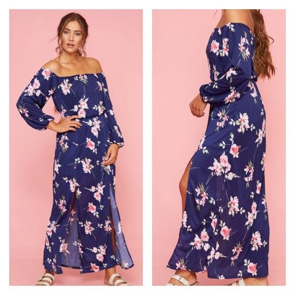 53ea8dabe6 Peach Love California Dresses | Navy Floral Off Shoulder Maxi Dress ...